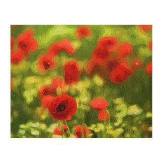 Wonderful poppy flowers VI - Wundervolle Mohnblume Wood Wall Art