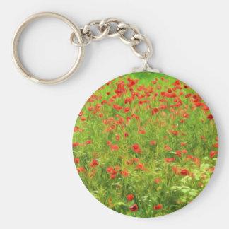 Wonderful poppy flowers VII - Wundervolle Mohnblum Basic Round Button Key Ring