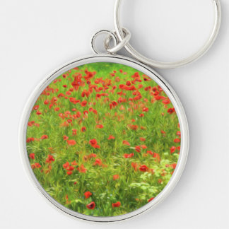 Wonderful poppy flowers VII - Wundervolle Mohnblum Silver-Colored Round Key Ring