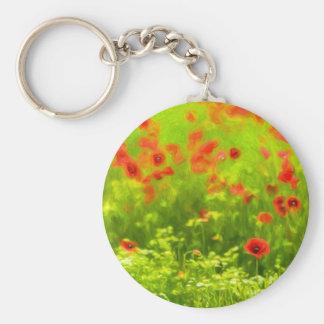 Wonderful poppy flowers VIII - Wundervolle Mohnblu Basic Round Button Key Ring
