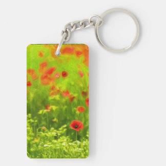 Wonderful poppy flowers VIII - Wundervolle Mohnblu Double-Sided Rectangular Acrylic Key Ring
