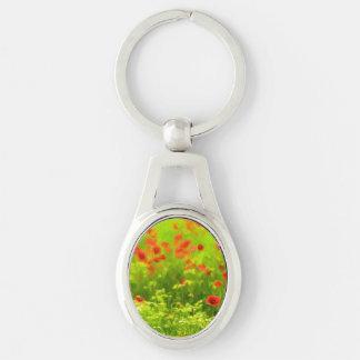 Wonderful poppy flowers VIII - Wundervolle Mohnblu Silver-Colored Oval Key Ring
