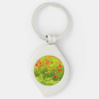 Wonderful poppy flowers VIII - Wundervolle Mohnblu Silver-Colored Swirl Key Ring