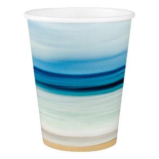 Wonderful Relaxing Sandy Beach Blue Sky Horizon Paper Cup