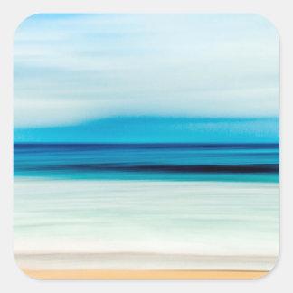 Wonderful Relaxing Sandy Beach Blue Sky Horizon Square Sticker