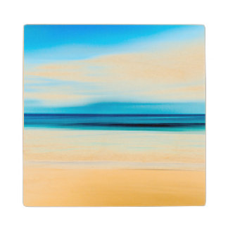 Wonderful Relaxing Sandy Beach Blue Sky Horizon Wood Coaster
