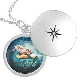 Wonderful Sea Turtle Underwater Life Locket Necklace