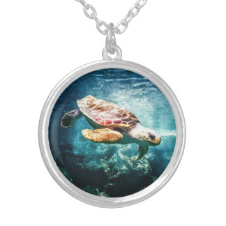 Wonderful Sea Turtle Underwater Life Silver Plated Necklace