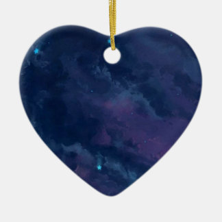 wonderful Star Gaze SKY - Gifts Greetings Dark FUN Double-Sided Heart Ceramic Christmas Ornament
