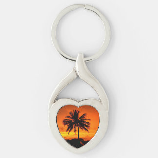 Wonderful Sunset Silver-Colored Twisted Heart Key Ring