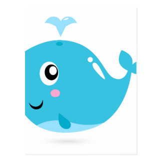 Wonderful t-shirts with Whale blue Postcard