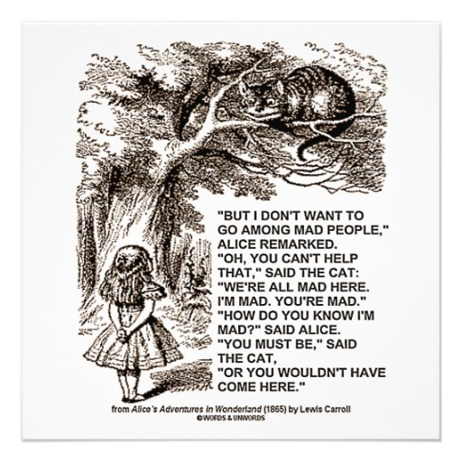 Wonderland Alice Go Among Mad People Quote Custom Announcements