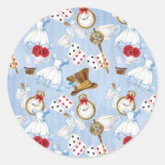 Wonderland Alice Pattern Classic Round Sticker