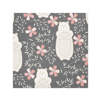 Wonderland Bears & Flowers Pattern Gallery Wrap Canvas