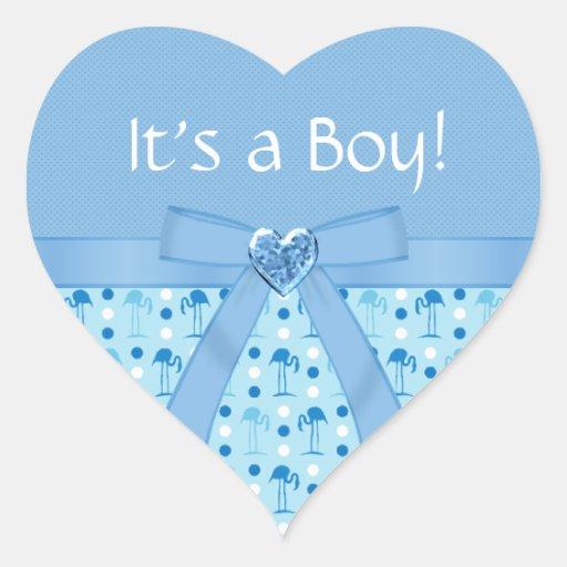 Wonderland Blue Flamingo New Baby Boy Stickers