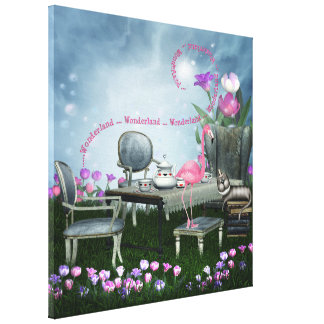 Wonderland Flamingo & Cheshire Cat Canvas Canvas Print