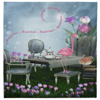 Wonderland Flamingo Cheshire Cat Tea Party Napkins