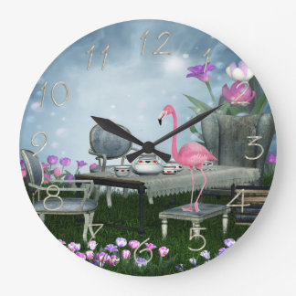 Wonderland Flamingo Tea Party Large Clock