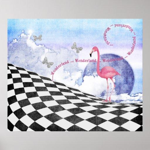 Wonderland Pink Flamingo Fantasy Art Poster