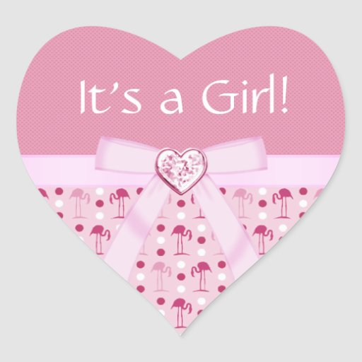 Wonderland Pink Flamingo New Baby Girl Stickers