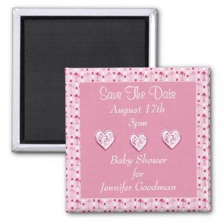 Wonderland Pink Flamingos Save The Date Baby Magnet