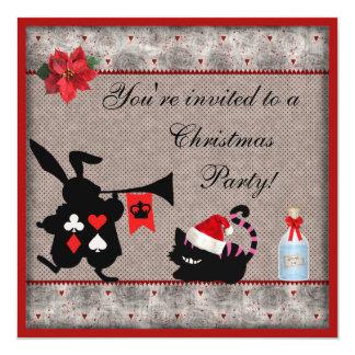 Wonderland Rabbit Herald & Cheshire Cat Christmas 13 Cm X 13 Cm Square Invitation Card