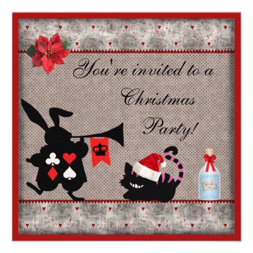 Wonderland Rabbit Herald & Cheshire Cat Christmas Personalized Invitation