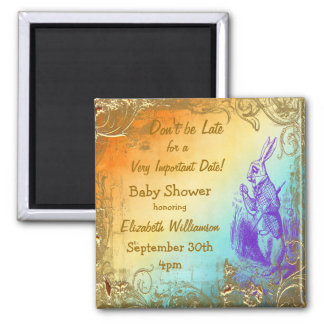 Wonderland Rabbit Save The Date Baby Shower Magnet
