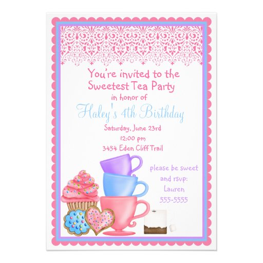 Wonderland Tea Party Birthday Invitations