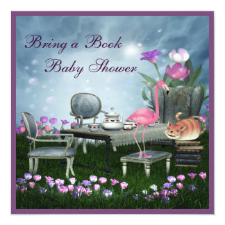 Wonderland Tea Party Bring A Book Baby Shower Personalized Invitation