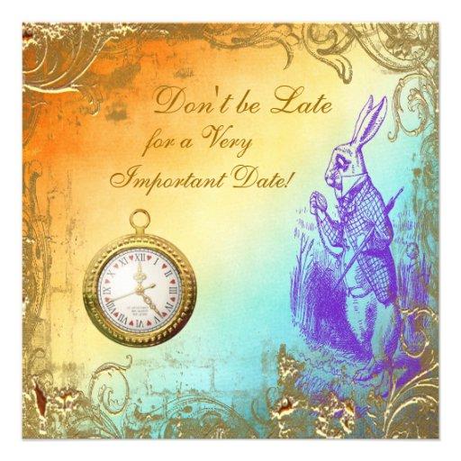 Wonderland White Rabbit Baby Shower Tea Party Invite