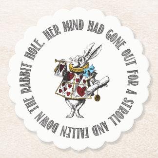 Wonderland White Rabbit Quote Paper Coaster