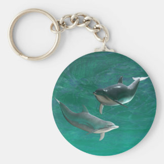 Wonderous Dolphins Basic Round Button Key Ring