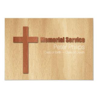 Wood2 Christian Memorial Service Personalized Card 9 Cm X 13 Cm Invitation Card