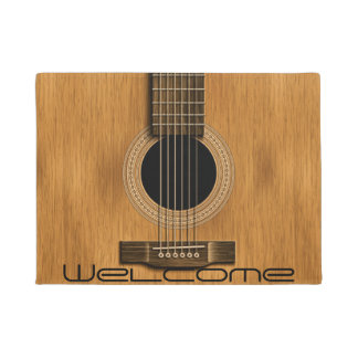 Wood Acoustic Guitar Rustic Music Welcome Doormat