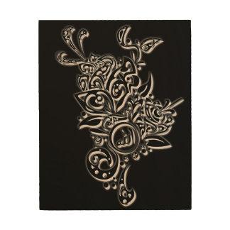 Wood Allah design Islam Wood Print
