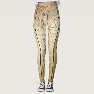 Wood and Abstract Gold Geometric Design Leggings