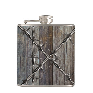 Wood and Barbed Wire Cowboy Flask