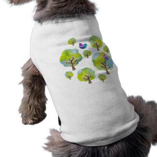 < Wood and bird (water color) circle > Trees and Sleeveless Dog Shirt
