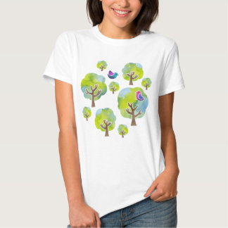 < Wood and bird (water color) circle > Trees and Tshirts
