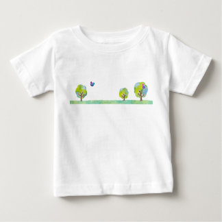 < Wood and bird (water color) > Trees and Birds Baby T-Shirt