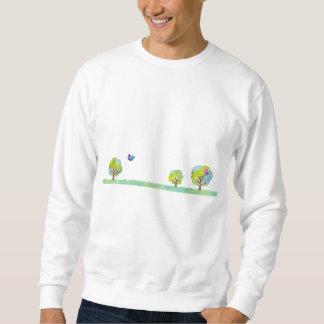 < Wood and bird (water color) > Trees and Birds Sweatshirt