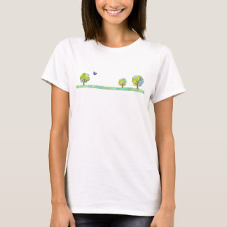 < Wood and bird (water color) > Trees and Birds T-Shirt