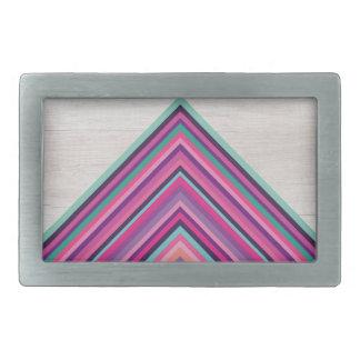 Wood and Bright Stripes, Geometric Bohemian Design Belt Buckle