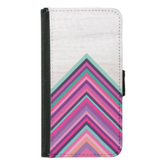 Wood and Bright Stripes, Geometric Bohemian Design Samsung Galaxy S5 Wallet Case