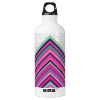 Wood and Bright Stripes, Geometric Bohemian Design Water Bottle