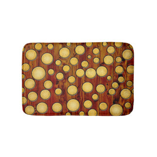 Wood and gold bath mats