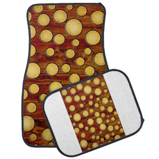 Wood and gold car mat