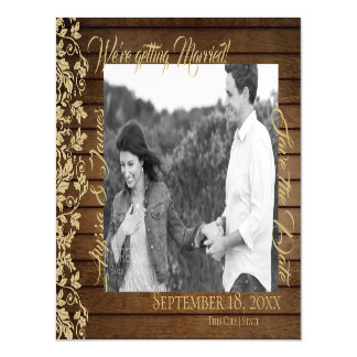 Wood and Gold Damask Save the Date Photo Magnetic Card