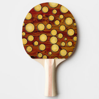 Wood and gold ping pong paddle